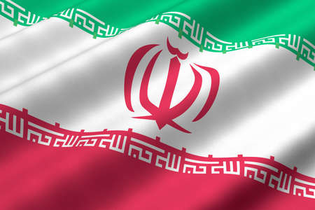 Detailed 3d rendering closeup of the flag of Iran.  Flag has a detailed realistic fabric texture. photo