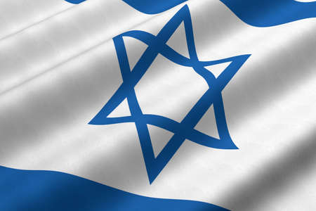 Detailed 3d rendering closeup of the flag of Israel.  Flag has a detailed realistic fabric texture.