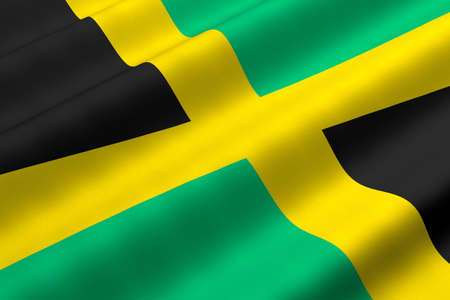 Detailed 3d rendering closeup of the flag of Jamaica.  Flag has a detailed realistic fabric texture.