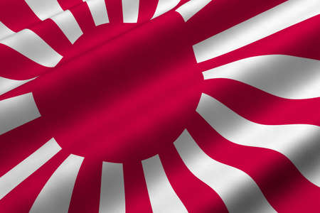 Detailed 3d rendering closeup of the military flag of Japan.  Flag has a detailed realistic fabric texture. Stock Photo