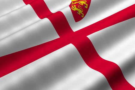 dependency: Detailed 3d rendering closeup of the flag of the Bailiwick of Jersey.  Flag has a detailed realistic fabric texture. Stock Photo