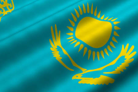Detailed 3d rendering closeup of the flag of Kazakhstan.  Flag has a detailed realistic fabric texture. Reklamní fotografie