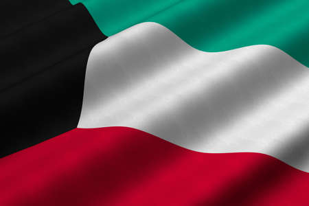 Detailed 3d rendering closeup of the flag of Kuwait.  Flag has a detailed realistic fabric texture.