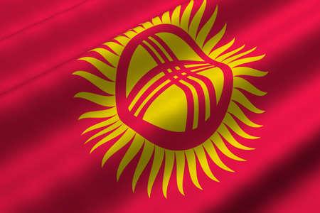 kyrgyz republic: Detailed 3d rendering closeup of the flag of the Kyrgyz Republic.  Flag has a detailed realistic fabric texture.