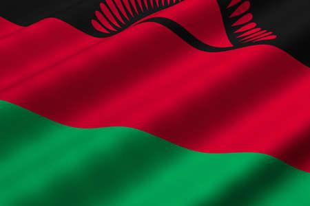 malawian flag: Detailed 3d rendering closeup of the flag of Malawi.  Flag has a detailed realistic fabric texture.