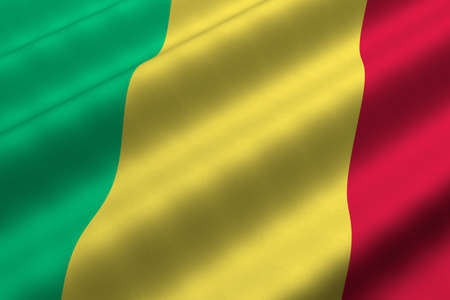 Detailed 3d rendering closeup of the flag of Mali.  Flag has a detailed realistic fabric texture. photo