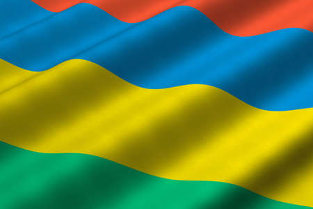 Detailed 3d rendering closeup of the flag of Mauritius.  Flag has a detailed realistic fabric texture.