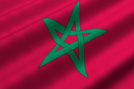 Detailed 3d rendering closeup of the flag of Morocco.  Flag has a detailed realistic fabric texture.