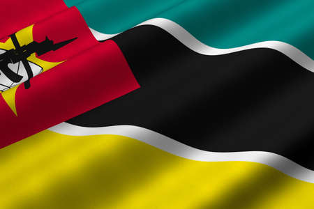 Detailed 3d rendering closeup of the flag of Mozambique.  Flag has a detailed realistic fabric texture.