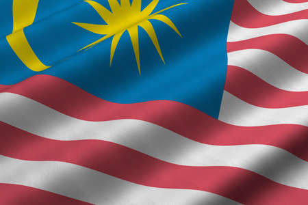 Detailed 3d rendering closeup of the flag of Malaysia.  Flag has a detailed realistic fabric texture. Stok Fotoğraf