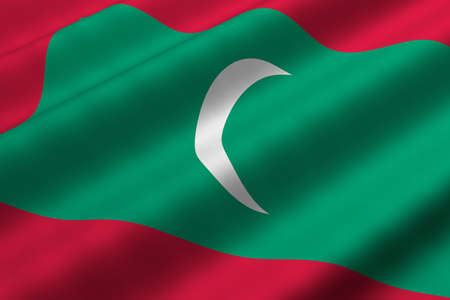 Detailed 3d rendering closeup of the flag of the Maldives.  Flag has a detailed realistic fabric texture. Imagens