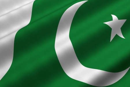 Detailed 3d rendering closeup of the flag of Pakistan.  Flag has a detailed realistic fabric texture.