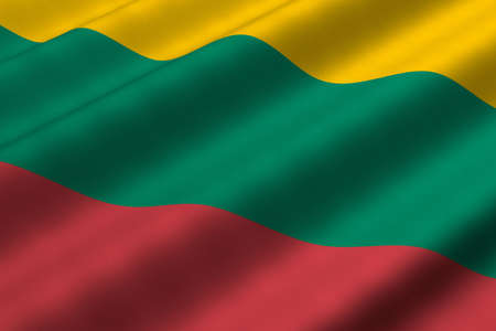 Detailed 3d rendering closeup of the flag of Lithuania. Flag has a detailed realistic fabric texture. Reklamní fotografie