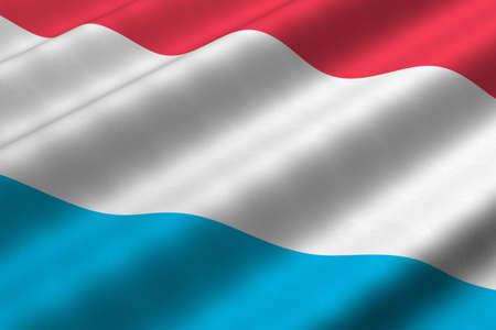 Gedetailleerde 3D-rendering close-up van de vlag van Luxemburg. Vlag heeft een gedetailleerde realistische weefsel structuur.