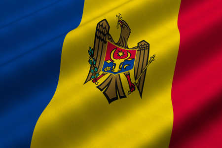 Detailed 3d rendering closeup of the flag of Moldova.  Flag has a detailed realistic fabric texture. photo