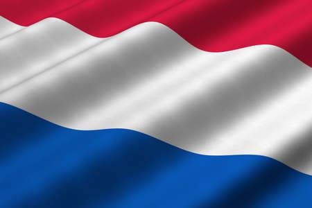 Gedetailleerde 3D-rendering close-up van de vlag van Nederland. Vlag heeft een gedetailleerde realistische weefsel structuur. Stockfoto