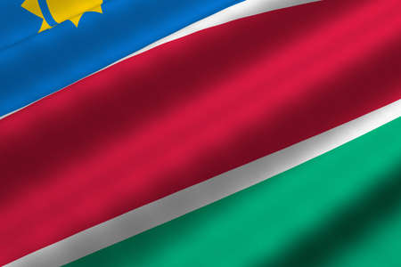 Detailed 3d rendering closeup of the flag of Namibia.  Flag has a detailed realistic fabric texture. Stok Fotoğraf