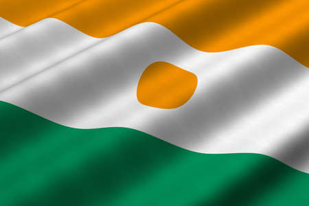 Detailed 3d rendering closeup of the flag of Niger.  Flag has a detailed realistic fabric texture. Stok Fotoğraf