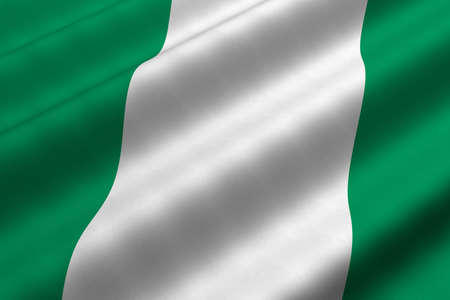 Detailed 3d rendering closeup of the flag of Nigeria.  Flag has a detailed realistic fabric texture.