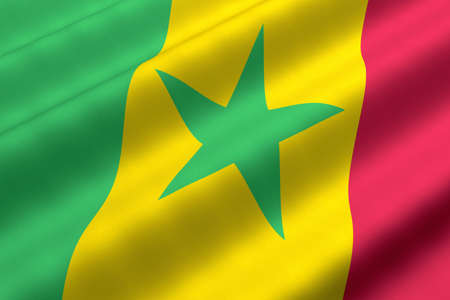 Detailed 3d rendering closeup of the flag of Senegal.  Flag has a detailed realistic fabric texture. Stok Fotoğraf