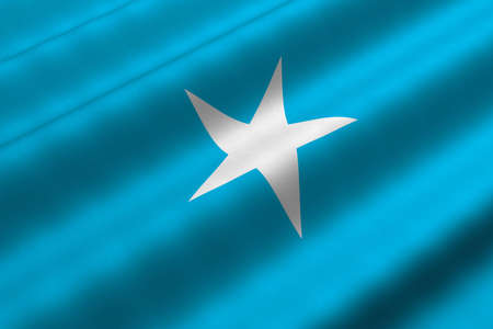 Detailed 3d rendering closeup of the flag of Somalia.  Flag has a detailed realistic fabric texture.