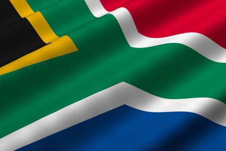 south africa flag: Detailed 3d rendering closeup of the flag of South Africa.  Flag has a detailed realistic fabric texture.