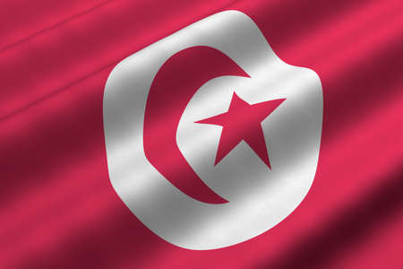 Detailed 3d rendering closeup of the flag of Tunisia.  Flag has a detailed realistic fabric texture. Stock Photo - 5193215