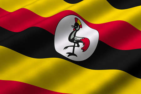 ugandan: Detailed 3d rendering closeup of the flag of Uganda.  Flag has a detailed realistic fabric texture.