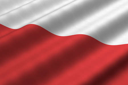 Detailed 3d rendering closeup of the flag of Poland.  Flag has a detailed realistic fabric texture. Stok Fotoğraf