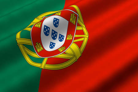 Detailed 3d rendering closeup of the flag of Portugal.  Flag has a detailed realistic fabric texture. photo