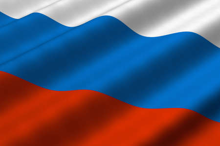 Detailed 3d rendering closeup of the flag of Russia.  Flag has a detailed realistic fabric texture.