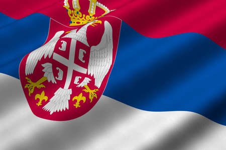 Detailed 3d rendering closeup of the flag of Serbia.  Flag has a detailed realistic fabric texture.
