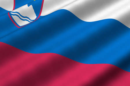 Detailed 3d rendering closeup of the flag of Slovenia.  Flag has a detailed realistic fabric texture. Imagens