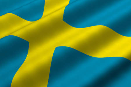 Detailed 3d rendering closeup of the flag of Sweden.  Flag has a detailed realistic fabric texture.