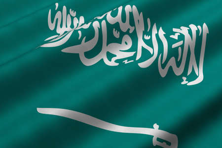 Detailed 3d rendering closeup of the flag of Saudi Arabia.  Flag has a detailed realistic fabric texture. photo