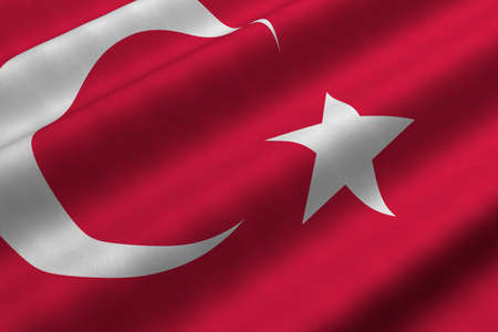 Detailed 3d rendering closeup of the flag of Turkey.  Flag has a detailed realistic fabric texture. Stock Photo