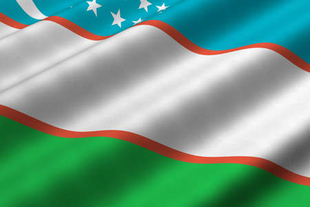 Detailed 3d rendering closeup of the flag of Uzbekistan.  Flag has a detailed realistic fabric texture.