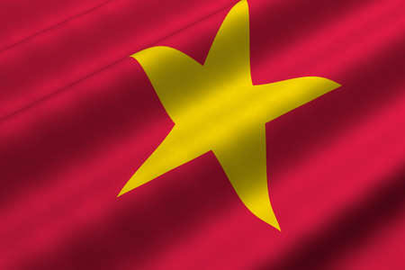 Detailed 3d rendering closeup of the flag of Vietnam.  Flag has a detailed realistic fabric texture. Stok Fotoğraf