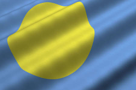 Detailed 3d rendering closeup of the flag of Palau.  Flag has a detailed realistic fabric texture. Stok Fotoğraf