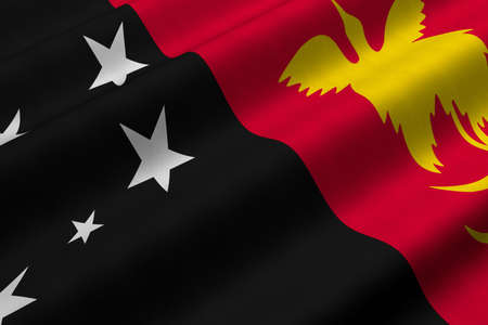 Detailed 3d rendering closeup of the flag of Papua New Guinea.  Flag has a detailed realistic fabric texture.