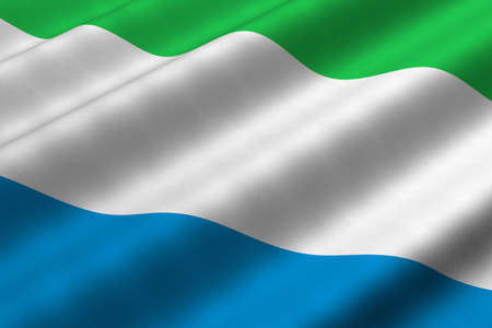 Detailed 3d rendering closeup of the flag of Sierra Leone.  Flag has a detailed realistic fabric texture.
