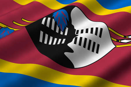 Detailed 3d rendering closeup of the flag of Swaziland.  Flag has a detailed realistic fabric texture.