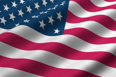bandera estados unidos: Primer plano detallado de representación 3D de la bandera de los Estados Unidos de América. Bandera tiene una detallada textura de tela realista.
