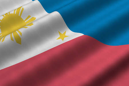 Detailed 3d rendering closeup of the flag of The Philippines.  Flag has a detailed realistic fabric texture.