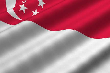 singaporean flag: Detailed 3d rendering closeup of the flag of Singapore.  Flag has a detailed realistic fabric texture.