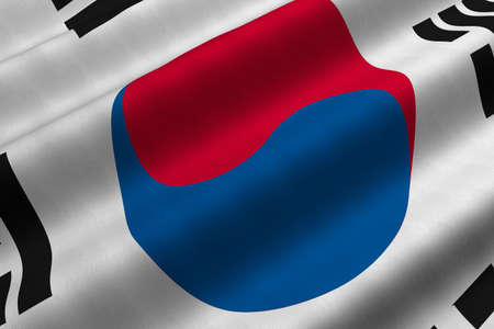Detailed 3d rendering closeup of the flag of South Korea.  Flag has a detailed realistic fabric texture. Stock Photo
