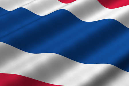 Detailed 3d rendering closeup of the flag of Thailand.  Flag has a detailed realistic fabric texture.