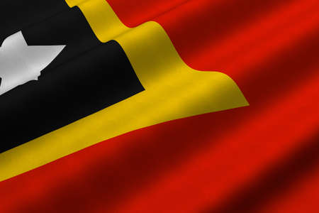 Detailed 3d rendering closeup of the flag of East Timor.  Flag has a detailed realistic fabric texture.