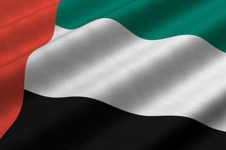 Detailed 3d rendering closeup of the flag of the United Arab Emirates.  Flag has a detailed realistic fabric texture.