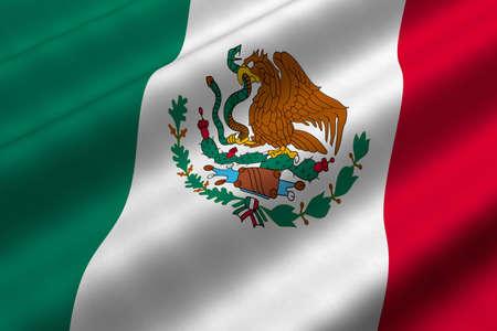 メキシコの旗の 3d レンダリングのクローズ アップの詳細。フラグは詳細な現実的な生地のテクスチャを持ちます。